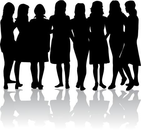 女性 - 黒のシルエットのグループ  イラスト・ベクター素材