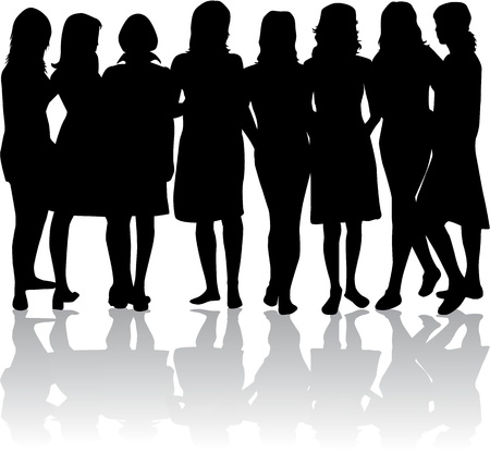 group of womens - black silhouettes