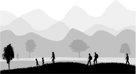walk in the mountain climate Vector