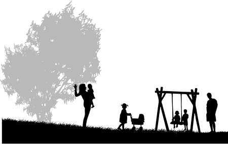 Family spends time at a party in the park Vector
