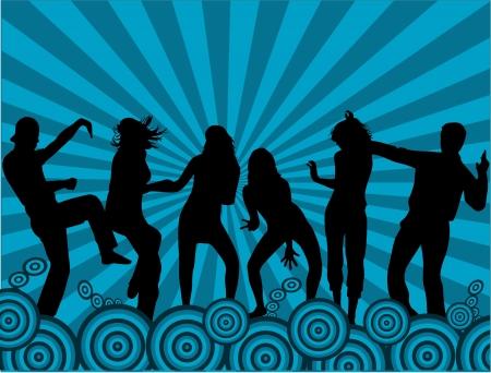 bailarines silueta: Gente del partido