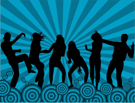 dancers silhouette: Party people  Illustration