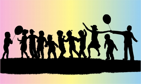 vector illustration of children silhouette