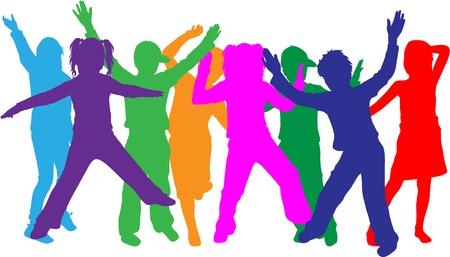 chicas bailando: grupo de ni�os Vectores