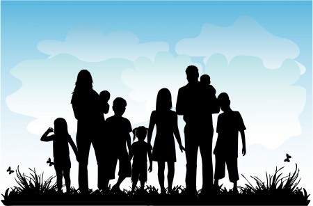 Profiles of large family in nature Vector