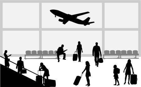airport people: airport- illustration  Illustration