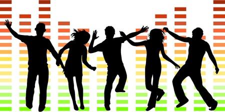 people dancing: Illustrazione di persone che ballano Vettoriali