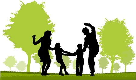 Family - parents and children  Stock Vector - 18685106