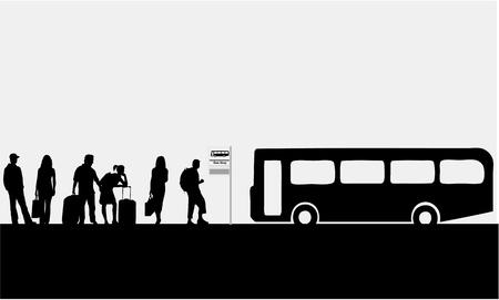 femme valise: Bus stop-ville en direct Illustration