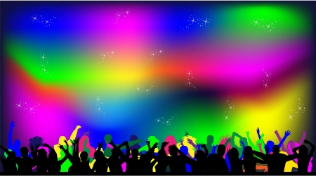 disco lights: Party people on a disco lights background  Illustration