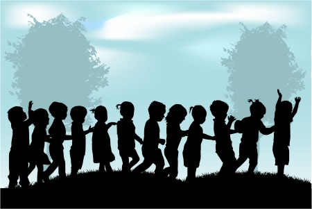 group of children s silhouettes  向量圖像