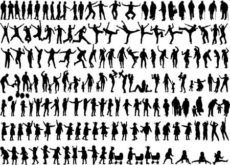 Menschen Mix Silhouettes Standard-Bild - 20722115