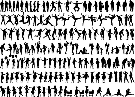 People Mix Silhouettes Vector