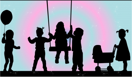 children silhouettes: illustration of children in nature