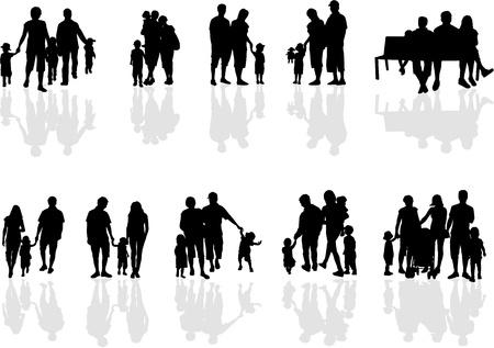 silueta ni�o: grupos familiares, el trabajo