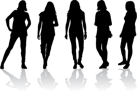 tall woman: Women silhouettes Illustration