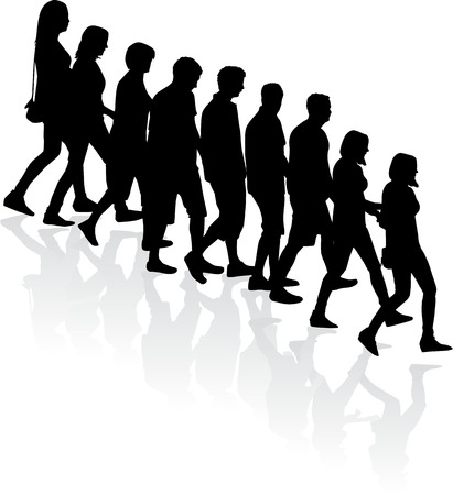 crowd of people - vector silhouettes Stock Vector - 24020512