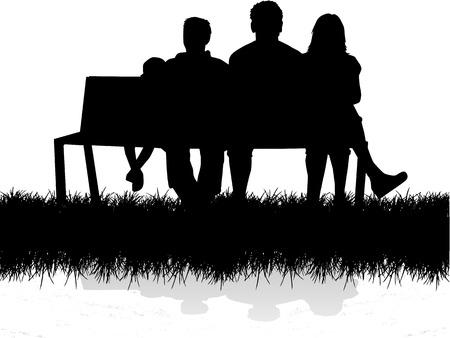 Family silhouet Stock Illustratie
