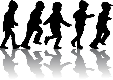 group of children's silhouettes Vector
