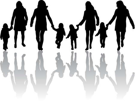 woman shadow: Family Silhouettes