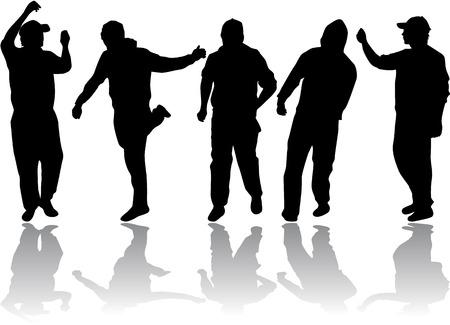 dance shadow: group of men Illustration