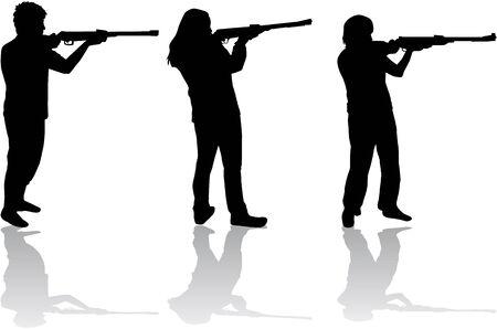 gun license: men and women with guns
