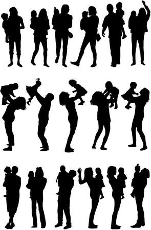 Silhouet van ouders en kinderen Stock Illustratie