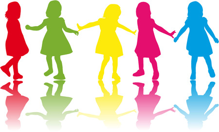 family fun day: group of childrens silhouettes