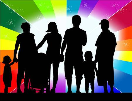 large family: Profiles of large family Illustration