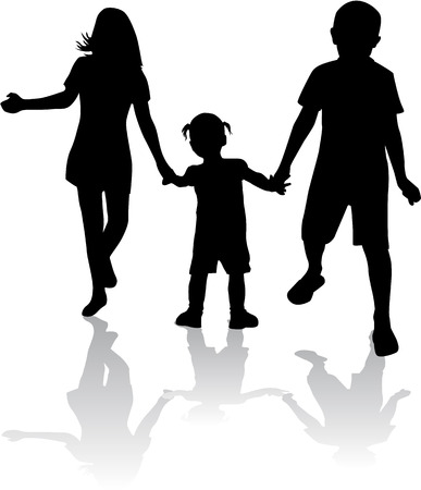 siblings: siblings - silhouettes Illustration