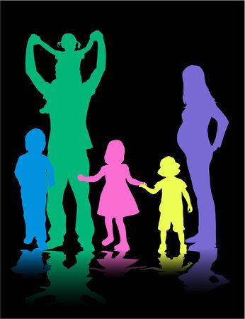 famiglia numerosa: Profili di grande famiglia Vettoriali