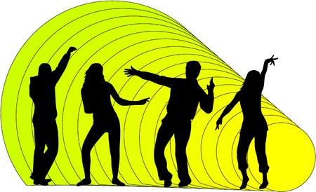 dominate: Illustration of people dancing - Illustration