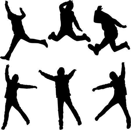 salto largo: El salto del hombre, el trabajo de vectores Vectores