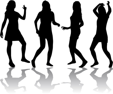 Silhouettes of sexy beautiful women dancing  Vector