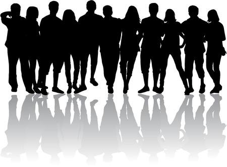 silhueta: Grupo de pessoas Ilustração