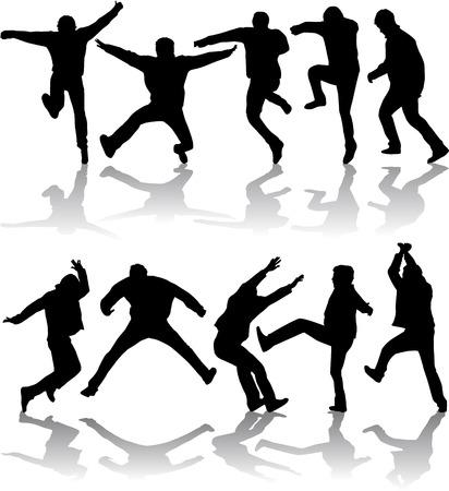 dance shadow: Men Activity, vector work