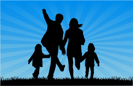family with two children: Family Silhouettes - Illustration