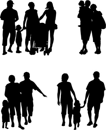 family with two children: Family silhouette - Illustration