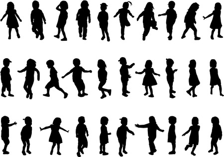 single parent: Collection of silhouettes of children