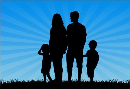 Familie silhouetten - Illustratie
