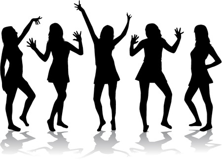 Dancing girls - silhouettes. Vector