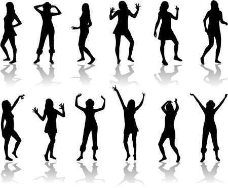 beautiful women dancing Vector