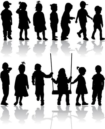 single parent: group of childrens silhouettes