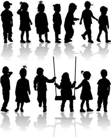 group of childrens silhouettes