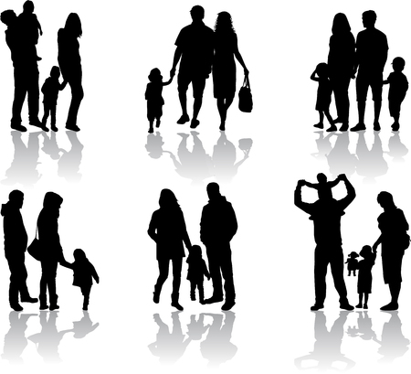 walking on hands: Family silhouettes Illustration