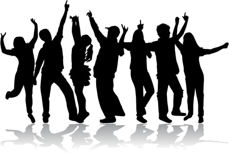 Dansende groep mensen Stock Illustratie
