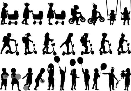 niños caminando: Siluetas infantiles