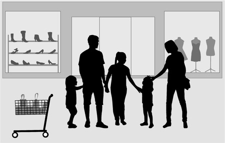 Family shopping. Silhouettes conceptual. Vector