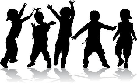dancing silhouette: Dancing kids - black silhouettes.