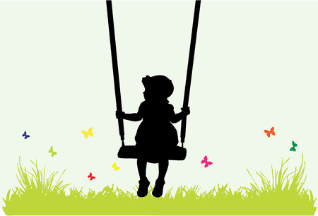 Little girl on a swing . Vector
